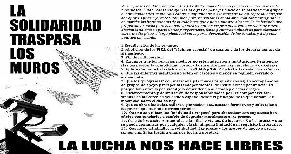 Resultado de imagem para presos huelga de hambre mes de mayo españa